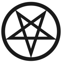 Encircled, inverted pentagram.